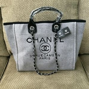 Chanel Silver Gray chain Canvas tote bag